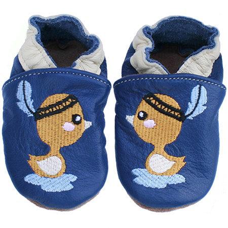 Chaussons cuir souple bébé canard orange fond bleu marine