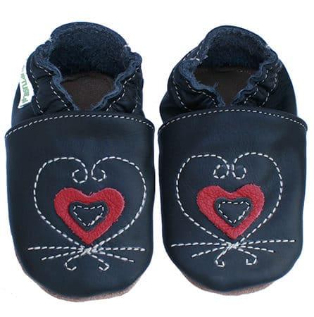 Chausson cuir souple bebe coeur noir