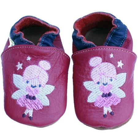 chaussons bébé cuir brodé fée