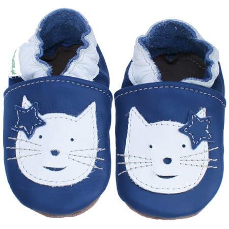 chaussons bébé cuir souple chat bleu