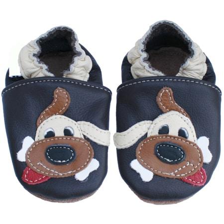 chaussons bébé cuir souple chien