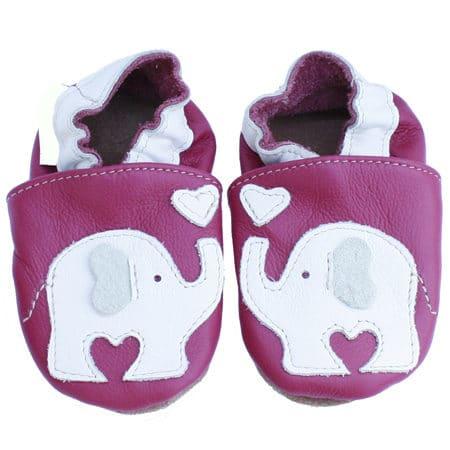 chaussons bébé cuir elephant rose