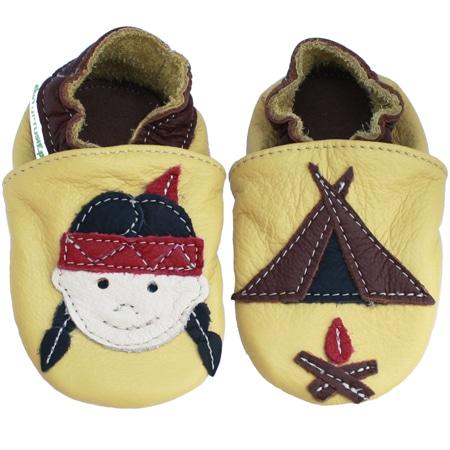 Chaussons cuir souple bébé Indienne fond jaune