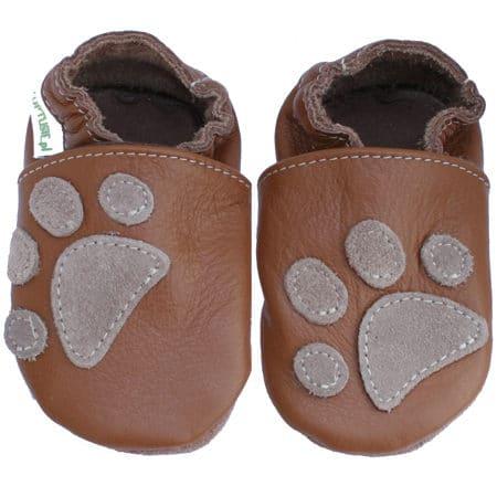 chaussons cuir bébé patte de chien marron