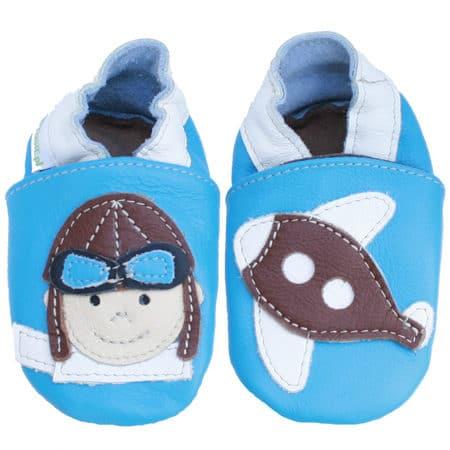 Chaussons cuir souple bébé pilote avion bleu ciel