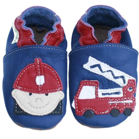 chaussons cuir souples bébé pompier bleu marine