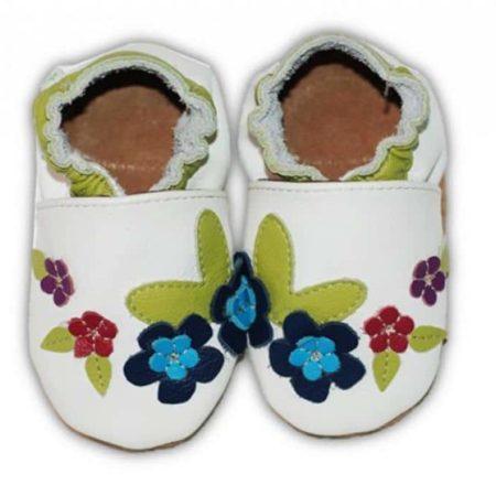 chausson cuir bebe fleur