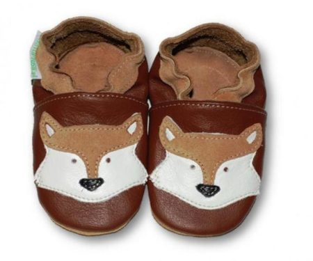 chausson cuir loup marron