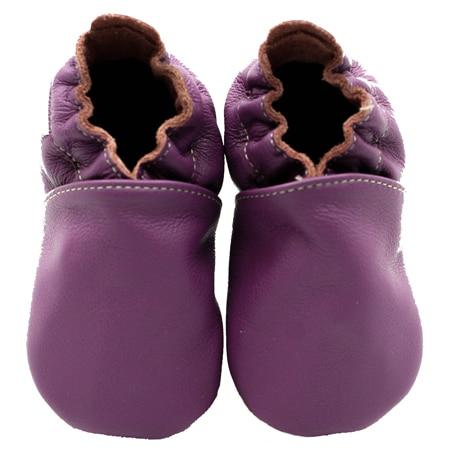 chausson cuir souple uni violet