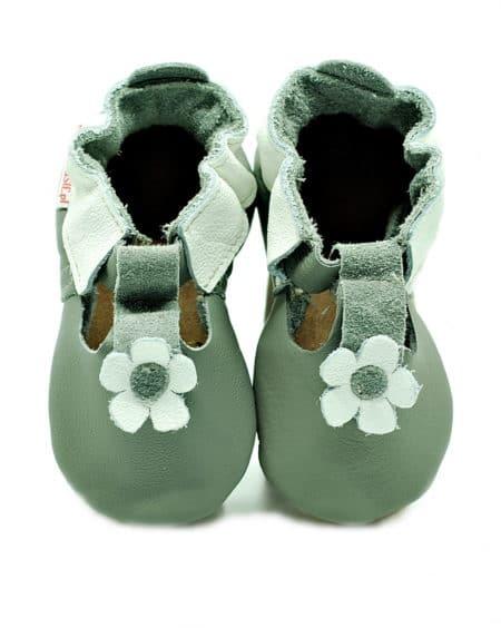 chausson sandale fleur grise