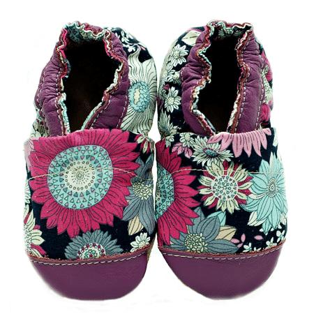 chausson mi-coton mi-cuir-flower-power